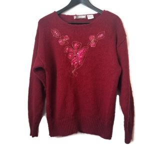 Vintage womens red granny sweater floral appliques